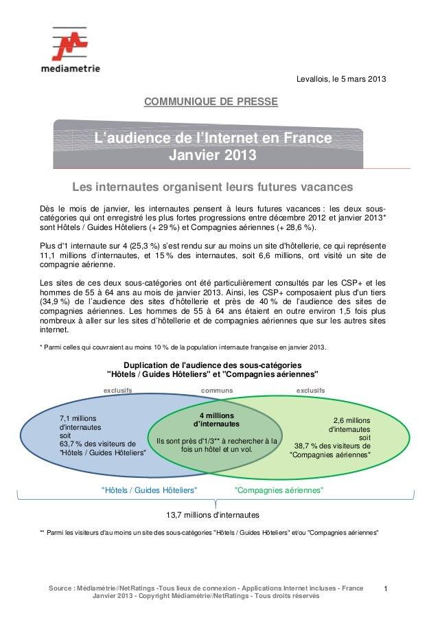 Mediametrie - L'audience de l'Internet en France Janvier 2013 (05.03.13)