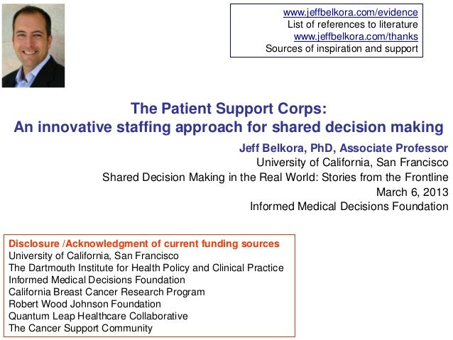 The patient support corps an innovative staffing approach for shared