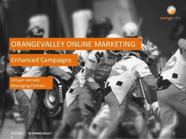 ORANGEVALLEY ONLINE MARKETINGEnhanced CampaignsOrtwin VerreckManaging Partner3/12/201   © ORANGEVALLEY       13