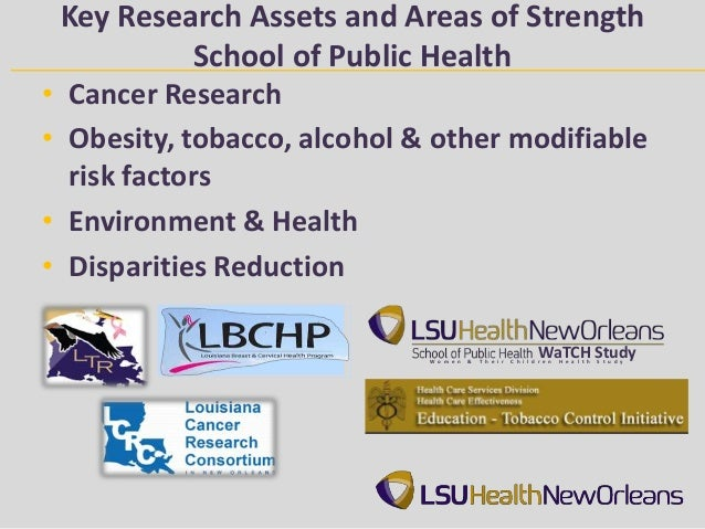 Key Research Assets and Areas of Strength          School of Public Health• Cancer Research• Obesity, tobacco, alcohol & o...
