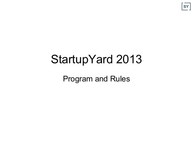 SY2013 Program and Rules