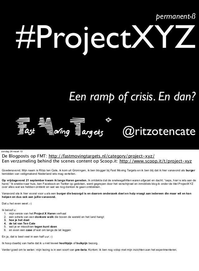 permanent-ß            #ProjectXYZ                                                    Een ramp of crisis. En dan?         ...