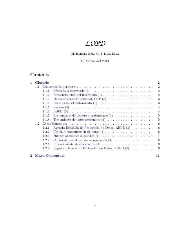 Glosario y Mapa conceptual sobre LOPD