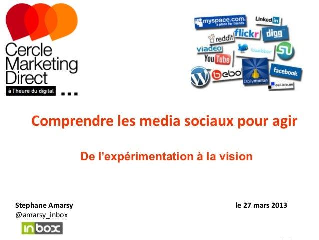 Comprendre les media sociaux pour agir                  De l'expérimentation à la visionStephane Amarsy                   ...