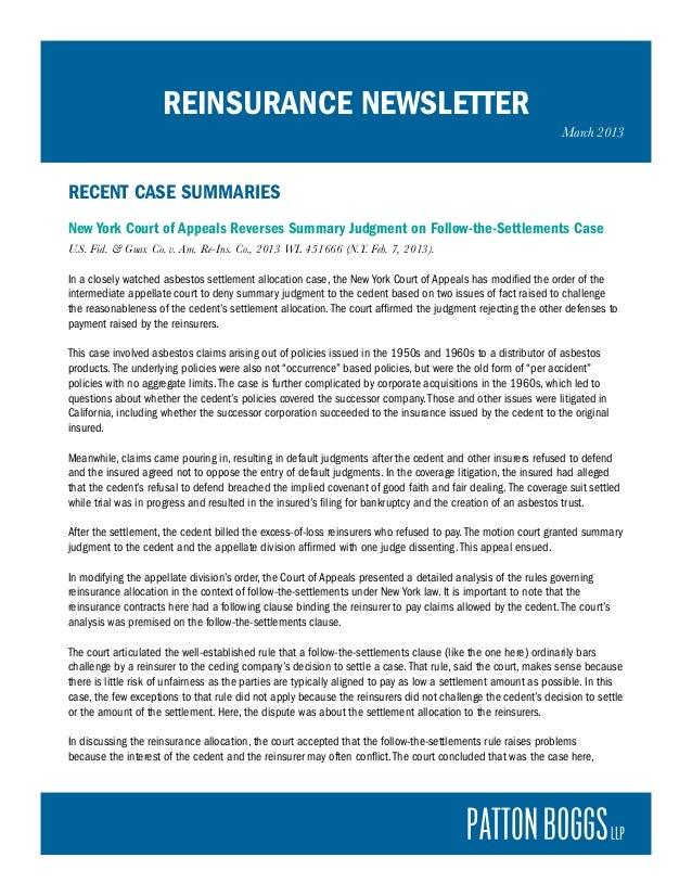March 2013 Reinsurance Newsletter