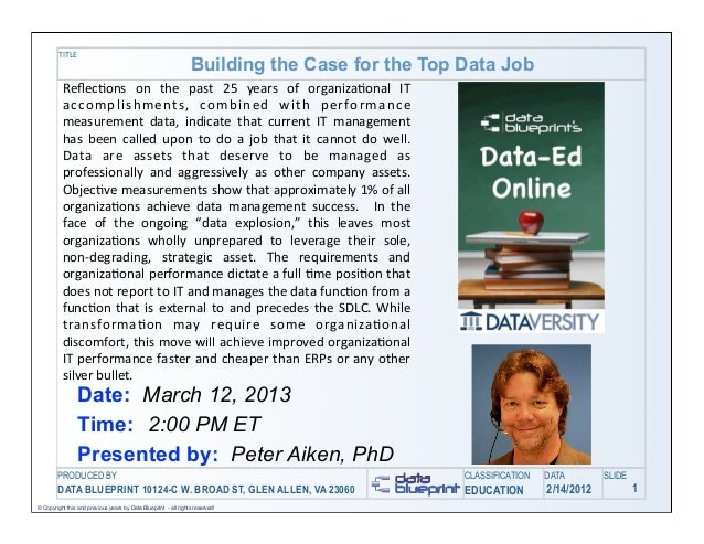 TITLE                                                                 Building the Case for the Top Data Job          Refle...