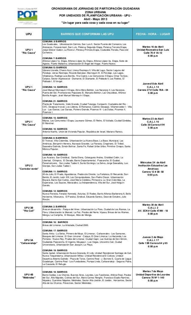 """CRONOGRAMA DE JORNADAS DE PARTICIPACIÓN CIUDADANAZONA URBANAPOR UNIDADES DE PLANIFICACIÓN URBANA - UPU -Abril - Mayo 2013""""..."""
