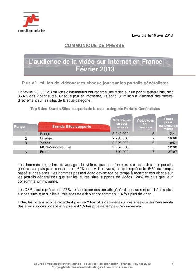 L'audience de la vidéo sur Internet en France Février 2013 (10.04.13)