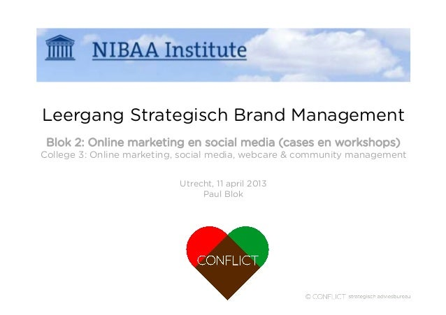NIBAA Leergang Strategisch Brandmanagement: online marketing en social media