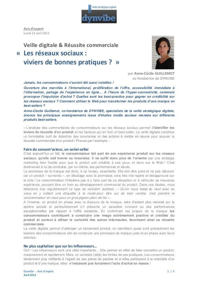 Avis d'expert Lundi 22 avril 2013  Veille digitale & Réussite commerciale  « Les réseaux sociaux : viviers de bonnes prati...