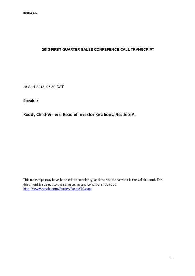 Q1 Sales investor call transcript