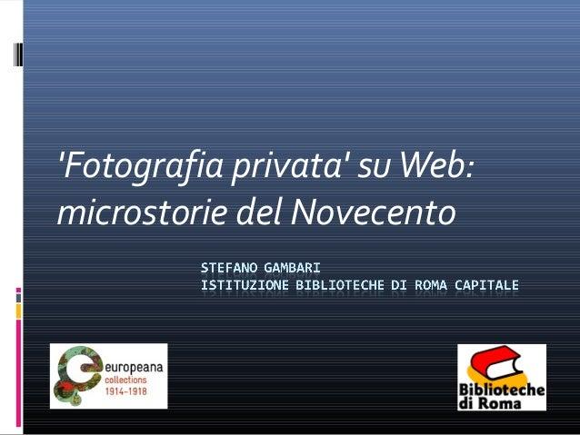 Fotografia privata suWeb:microstorie del Novecento