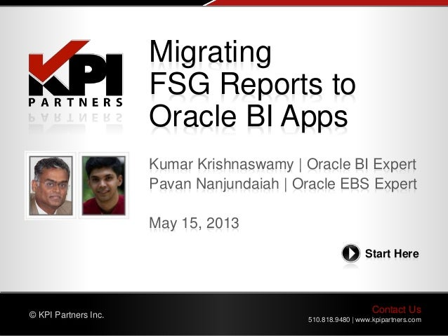 Contact Us 510.818.9480 | www.kpipartners.com © KPI Partners Inc. Start Here Kumar Krishnaswamy | Oracle BI Expert Pavan N...
