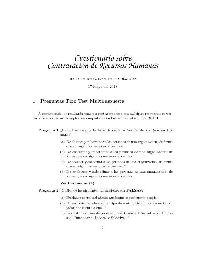 Cuestionario sobre Contratacion Recursos Humanos