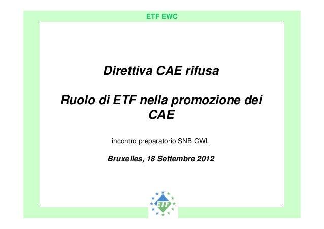 European Transport Workers´ Federation ETF EWC Direttiva CAE rifusa Ruolo di ETF nella promozione dei CAE incontro prepara...