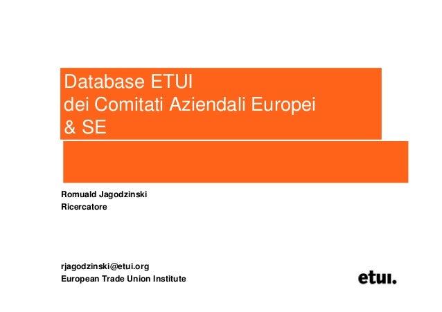 Database ETUIdei Comitati Aziendali Europei& SERomuald JagodzinskiRicercatorerjagodzinski@etui.orgEuropean Trade Union Ins...