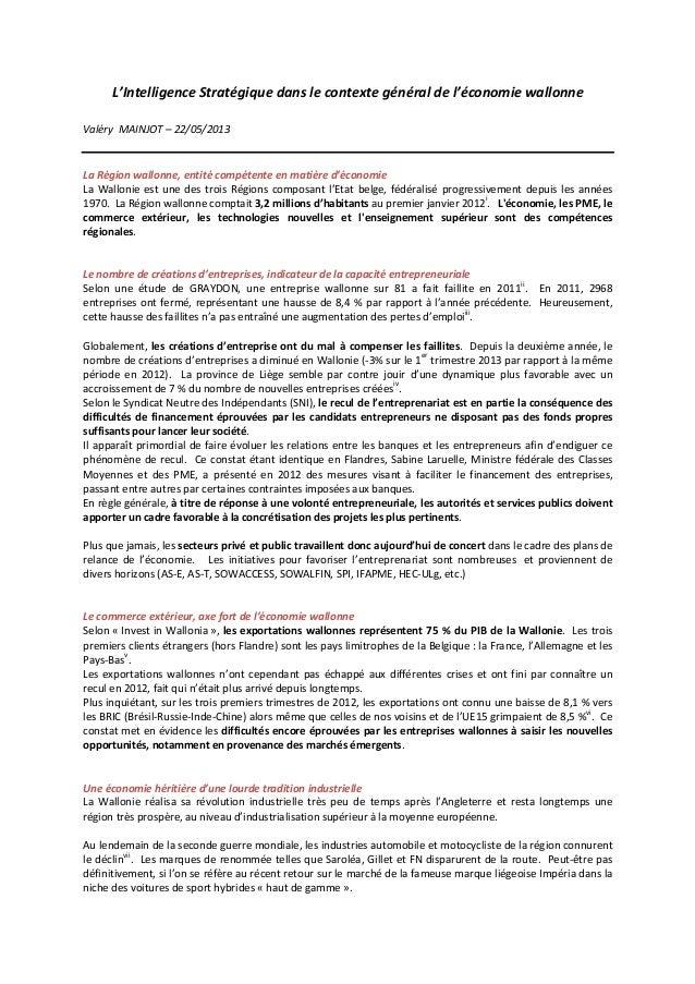 L'Intelligence  Stratégique  dans  le  contexte  général  de  l'économie  wallonne      Valéry    ...