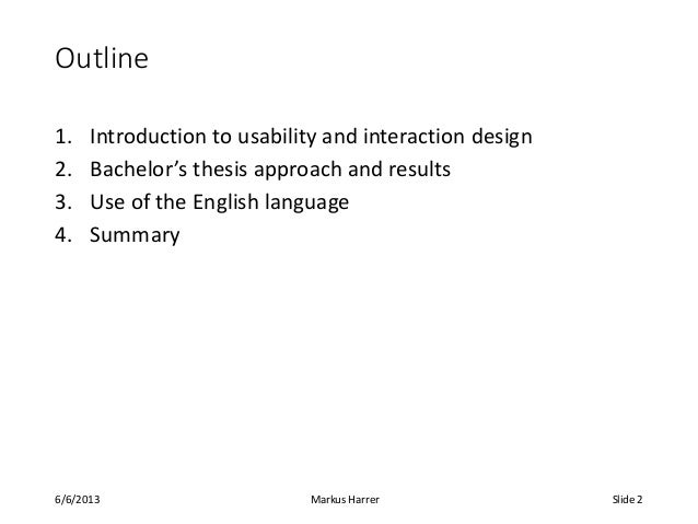 bachelor thesis introduction Content of a thesis • title sheet (no numbering) • abstract (max 1 page, only 1 paragraph, keywords, no page number) • authors declaration on originality of the work (no page number) • table of contents (page numbers eg as i, ii, iii,) • 1 introduction (normal page numbering starting here) • 2 state of the art • 3.