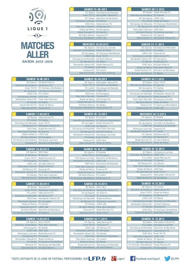 Le planning de la L1 2013-2014