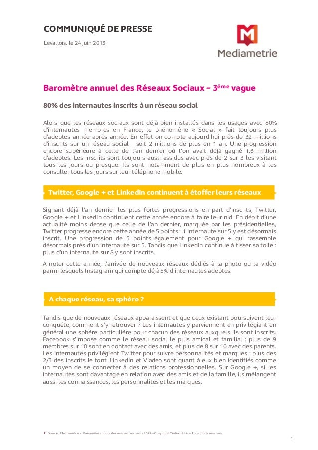 [Médiamétrie] Baromètre annuel des Réseaux Sociaux – 3ème vague (24.06.13)