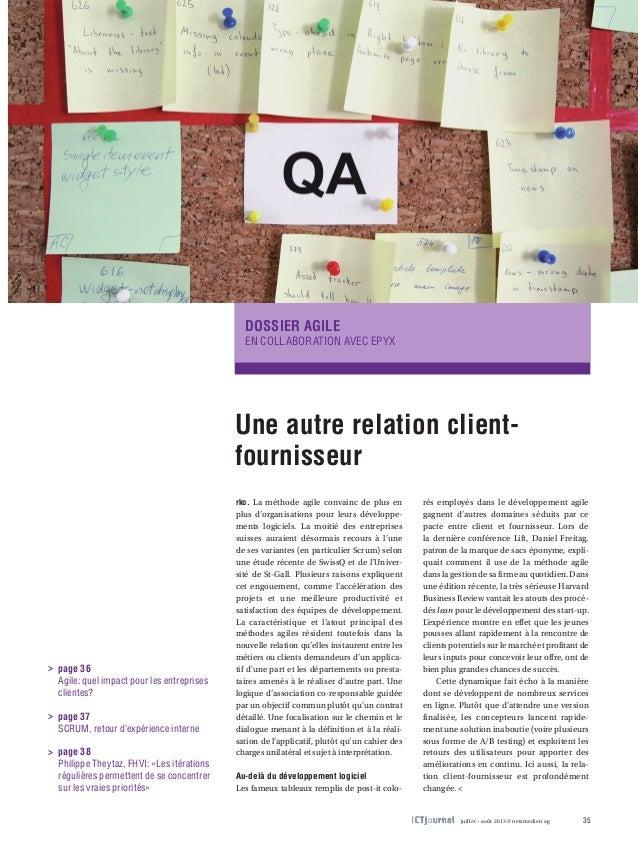 Dossier agile  EN COLLABORATION AVEC EPYX  Une autre relation client-fournisseur  rko. La méthode agile convainc de plus e...