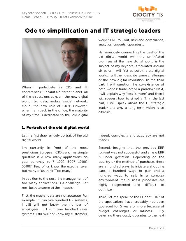 201306 Ode to Simplification and IT Strategic Leaders