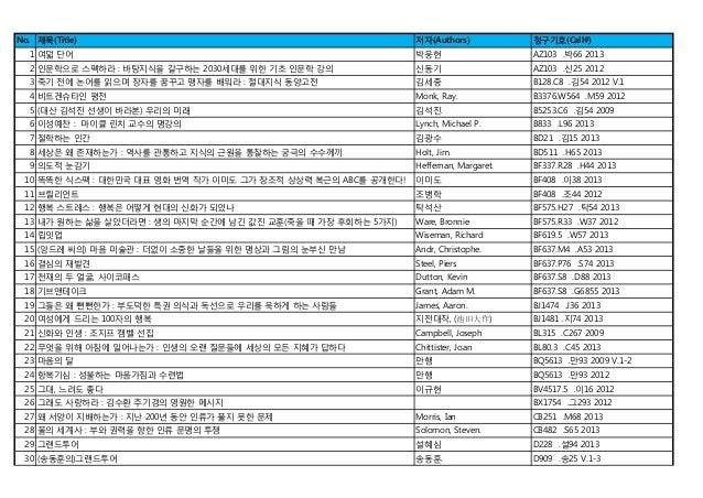청암학술정보관 2013년 7월 신착자료