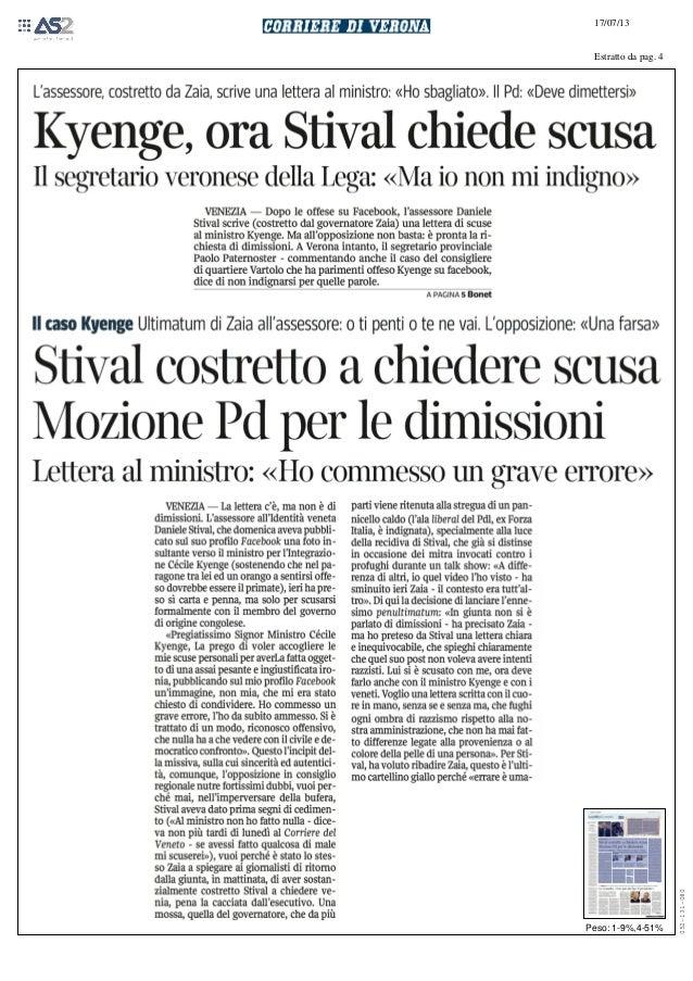 Kyenge: Ora Stival chieda scusa. Antonio De Poli: Via le deleghe subito, il resto è farsa - CorriereVeneto