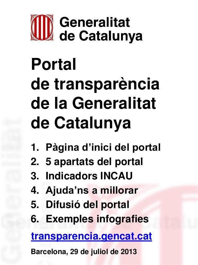 Portal de transparència de la Generalitat de Catalunya 1. Pàgina d'inici del portal 2. 5 apartats del portal 3. Indicadors...