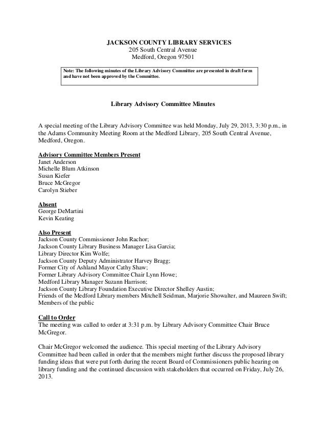 Jackson County Library Advisory Committee: Meeting minutes, July 29, 2013