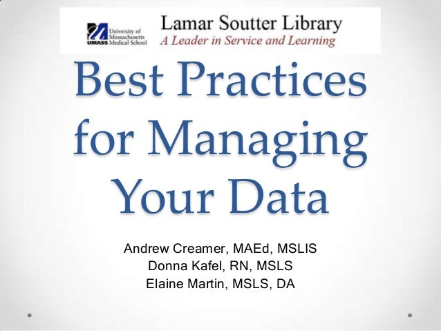 Best Practices for Managing Your Data