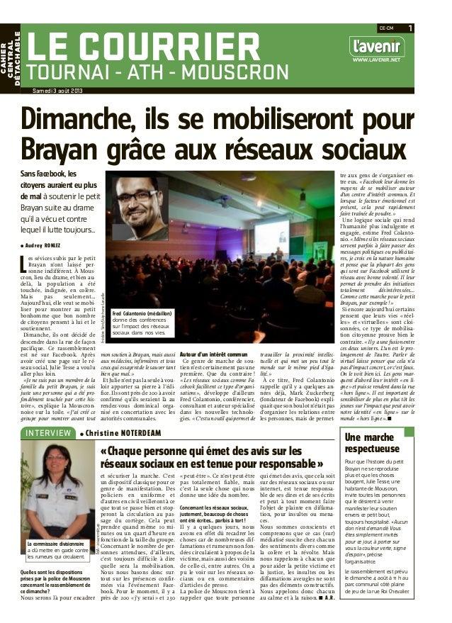 Le Courrier Tournai (L'avenir) - Dimanche, ils se mobilisent pour Brayan grâce aux réseaux sociaux (interview)