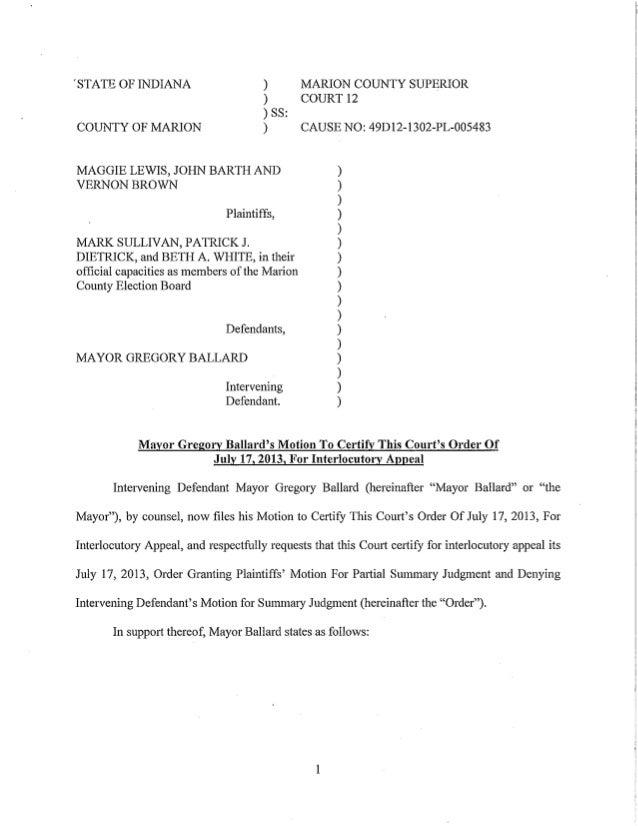 Interlocutory Appeal in Redistricting Case