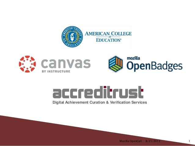 Digital Achievement Curation & Verification Services Mozilla OpenCall 18/21/2013
