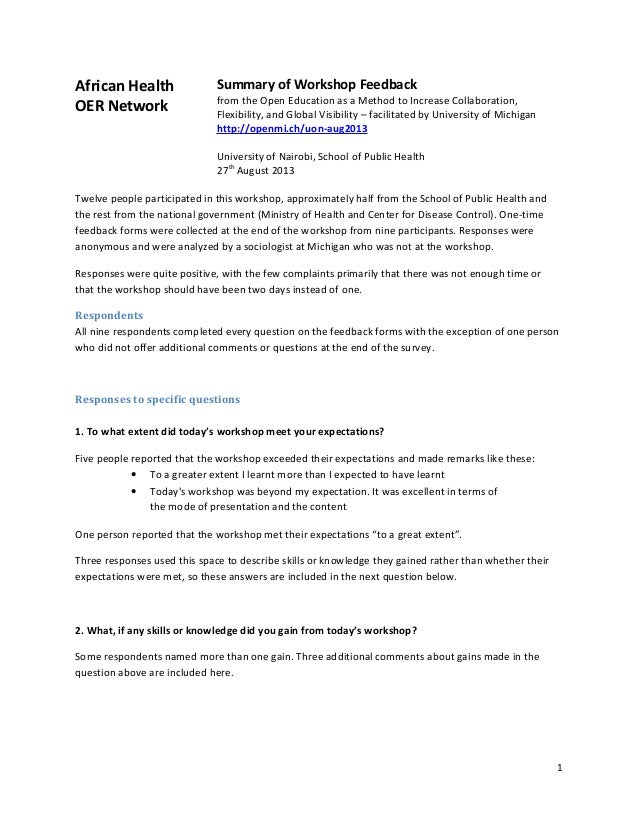 African Health OER Network  Summary of Workshop Feedback  from the Open Education as a Method to Increase Collaboration, F...