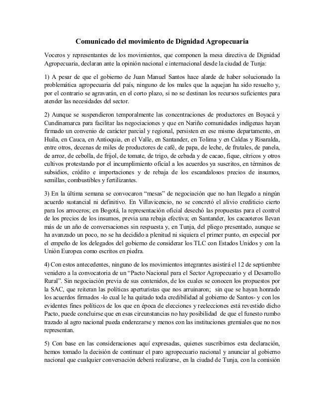 Comunicado del movimiento de Dignidad Agropecuaria Voceros y representantes de los movimientos, que componen la mesa direc...