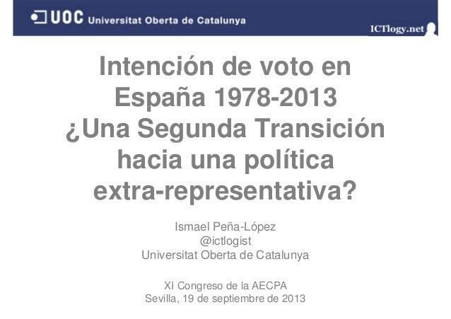 Intención de voto enIntención de voto en España 1978-2013spa a 9 8 0 3 ¿Una Segunda Transición¿ g hacia una política extra...