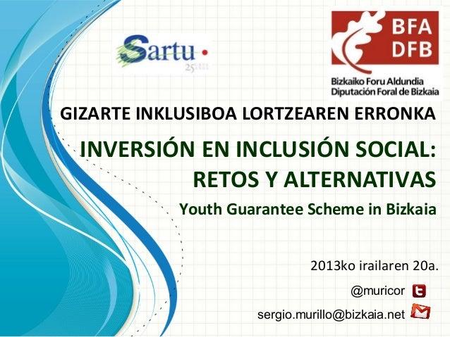 GIZARTE INKLUSIBOA LORTZEAREN ERRONKA INVERSIÓN EN INCLUSIÓN SOCIAL: RETOS Y ALTERNATIVAS Youth Guarantee Scheme in Bizkai...