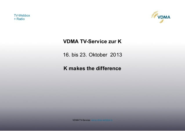 TV-Webbox + Radio VDMA TV-Service: www.vdma-webbox.tv VDMA TV-Service zur K 16. bis 23. Oktober 2013 K makes the difference