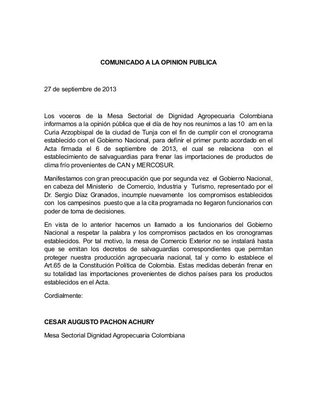Comunicado Mesa Sectorial Dignidad Agropecuaria Colombiana. 28 septiembre 2013