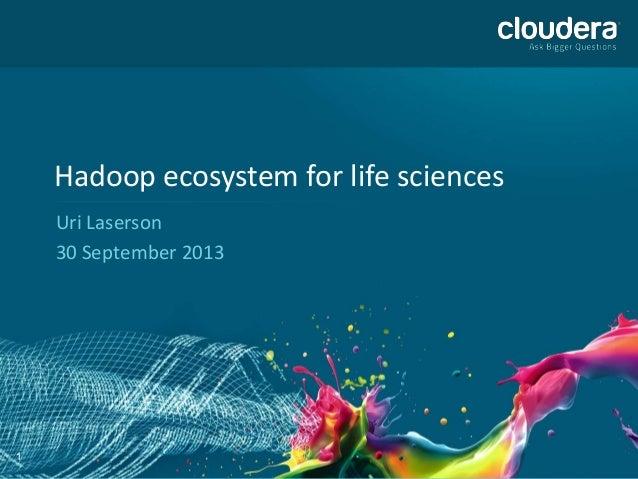 1 Hadoop ecosystem for life sciences Uri Laserson 30 September 2013