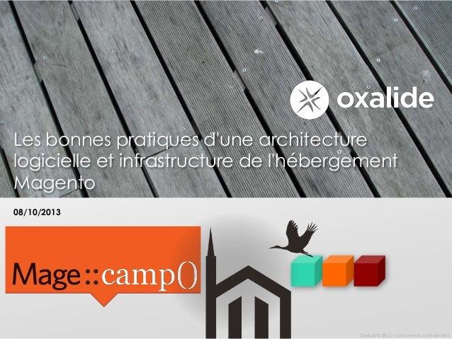 Les bonnes pratiques d'une architecture logicielle et infrastructure de l'hébergement Magento 08/10/2013  Oxalide © 2013 –...
