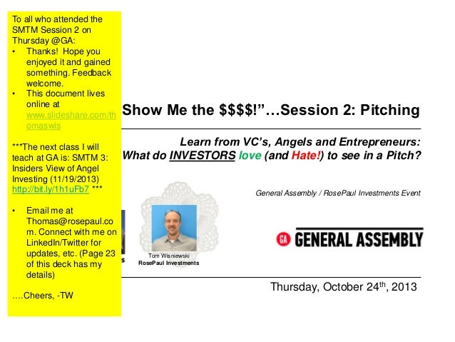 Show Me the Money:  Pitching and Fundraising for Tech Startups