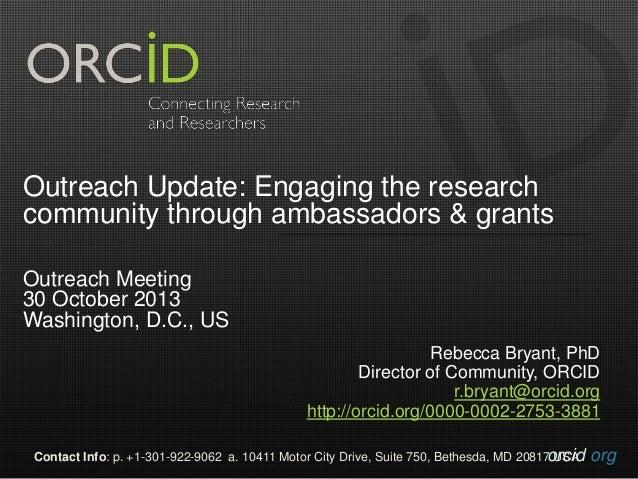 20131029 Community Outreach Report
