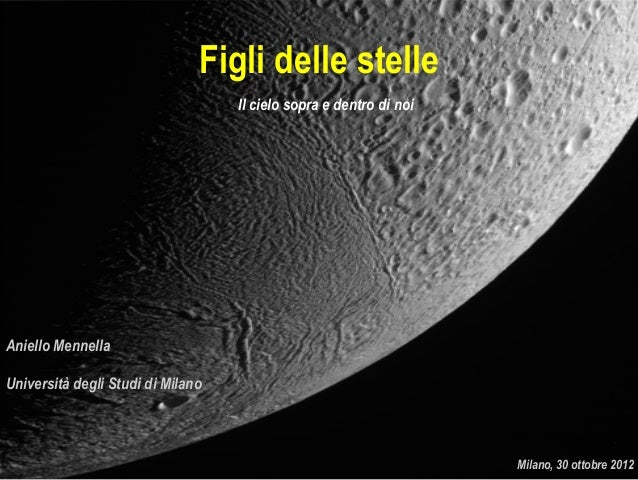Figli delle stelle Il cielo sopra e dentro di noi  Aniello Mennella Università degli Studi di Milano  Milano, 30 ottobre 2...