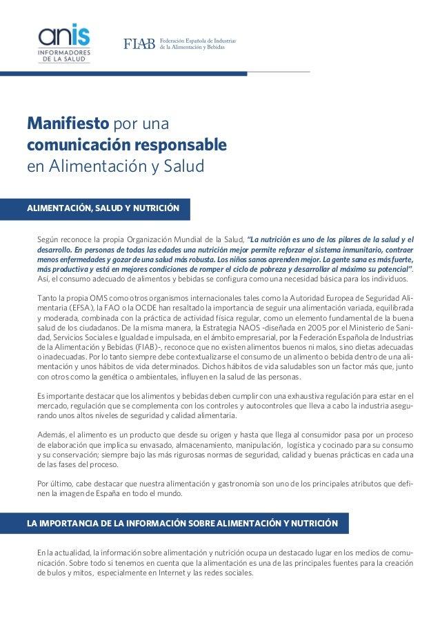 20131030 Manifiesto por una comunicación responsable en alimentación y salud