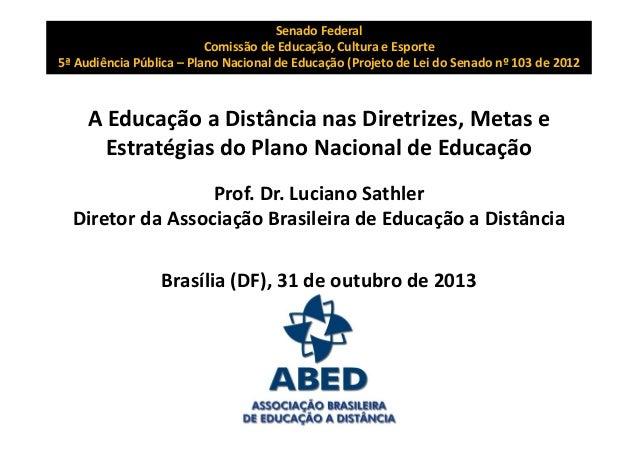 A Educação a Distância no Plano Nacional de Educação
