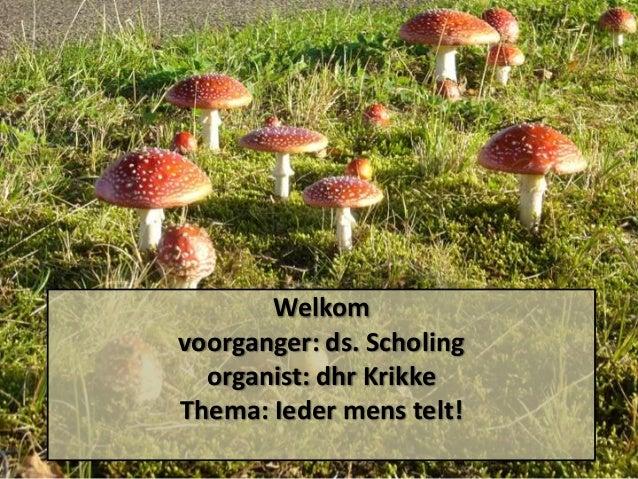 Welkom voorganger: ds. Scholing organist: dhr Krikke Thema: Ieder mens telt!