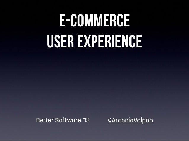 E-commerce User Experience