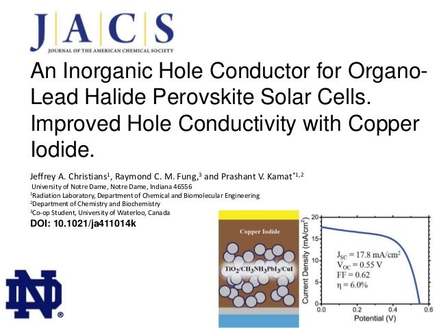 An Inorganic Hole Conductor for OrganoLead Halide Perovskite Solar Cells. Improved Hole Conductivity with Copper Iodide. J...